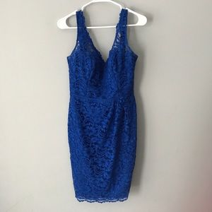 David's Bridal royal blue allover lace dress N252